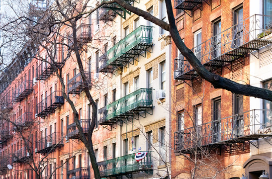 Block of colorful old buildings in the Upper East Side neighborhood of Manhattan in New York City