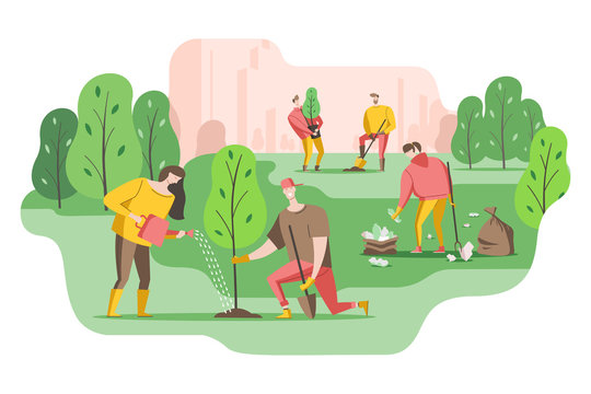 Volunteers plant a trees in the Park and put garbage in bags. Young people care about the environment. Vector illustration in a flat style