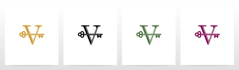 Door Key On Letter Logo Design V