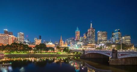 Fotomurales - hyperlapse of sunset, Yarra River, Melbourne, Victoria, Australia