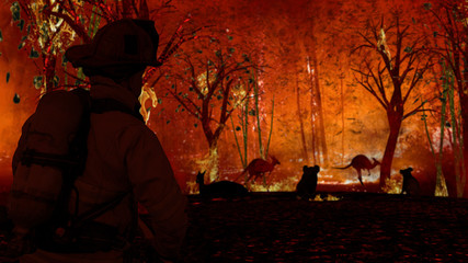 Fireman is looking at aussie animals in wildfire. Kangaroos, koalas all need help from people 3d rendering
