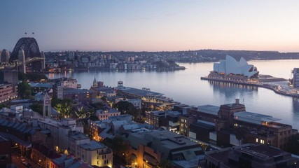 Fotomurales - timelapse sunrise, Aerial view of Sydney with Harbour Bridge, Australia