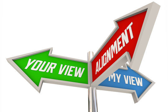 Alignment Your My View Opinion Direction Signs 3d Animation