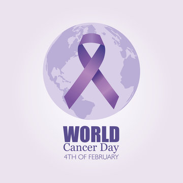 world cancer day poster with ribbon and planet earth