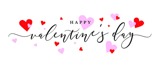 Wall Mural - Happy Valentine's Day Vector Calligraphy Text with Pink and Red Hearts
