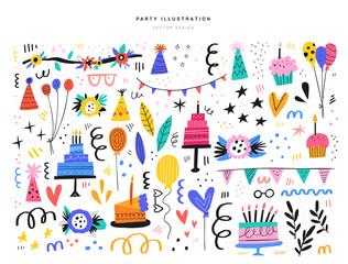 Party decorative items flat vector illustrations set