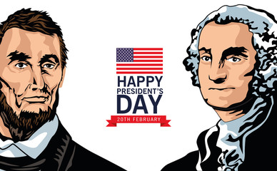 happy presidents day poster with lincoln and washington Fototapete