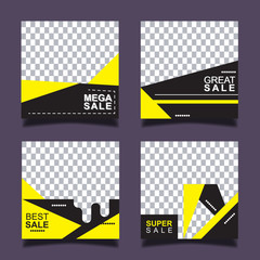 Set of sale banner template design for social media