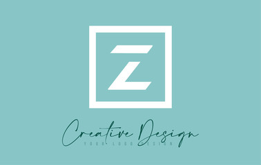 Z Letter Icon Design With Creative Modern Look and Teal Background.