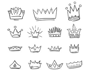 Hand drawn crowns draft set. Vector illustration.
