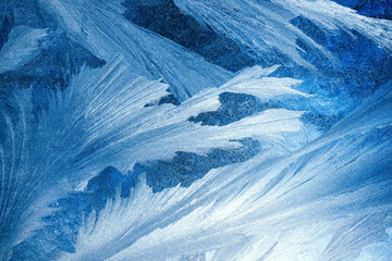 Frosty pattern on transparent background. Background light blue winter. Blue backdrop beautiful abstract background. Cold weather