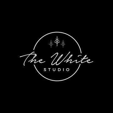 the white studio logo template,circle studio photography logo sign can use for your trademark, branding identity or commercial brand