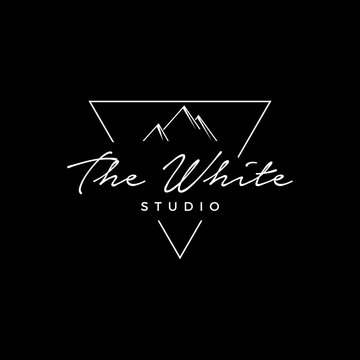 the white studio logo template,triangle studio photography logo sign can use for your trademark, branding identity or commercial brand
