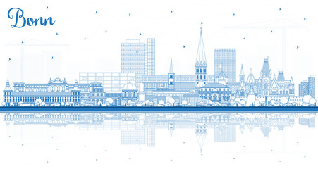 Wall Mural - Outline Bonn Germany City Skyline with Blue Buildings and Reflections.
