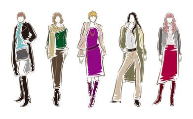 女性のファッションイラスト Wall mural