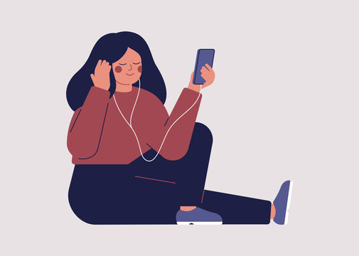 Young woman is listening to music or audio book with headphones on her smartphone. Teenager Girl is learning languages online. Vector illustration