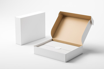 Open and closed white realistic cardboard box with paper and a sticker on a light background. The concept of business gifts. Mock up. 3d rendering