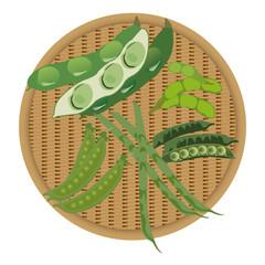 ざると豆科野菜5種