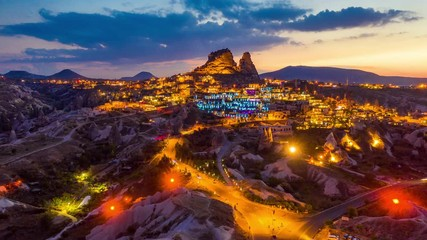 Wall Mural - Hyperlapse of Uchisar Castle at twilight in Cappadocia, Turkey.