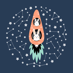 Fotorolgordijn Bestsellers Kids Cute hares on a carrot rocket in space among the stars.
