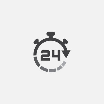 24 hours online vector icon, 24h support icon, Non stop working shop or service symbol, 24h Flat icon vector illustration