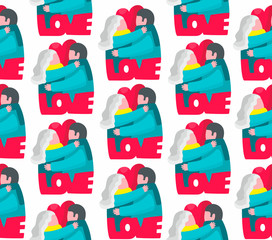 Seamless pattern with couple of man and woman in romantic hug. Love with heart vector illustration.