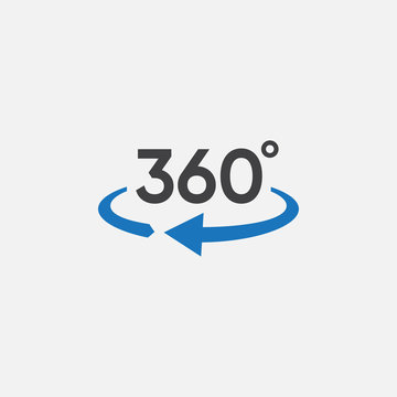 360 view icon graphic design template vector, 360 degrees angle icon in trendy flat style, Icon vector of 360-degree app for 360-area view