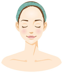 女性の顔のイメージイラスト(美容)