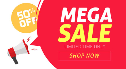 Mega sale banner design with off price discount offer tag and megaphone announce vector illustration, flat clearance promotion or special 50 percent deal off web coupon template or flyer image