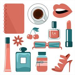 Illustration of female items. Fashion, cosmetics