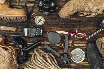 travel hiking equipment tools, view from above Fotobehang