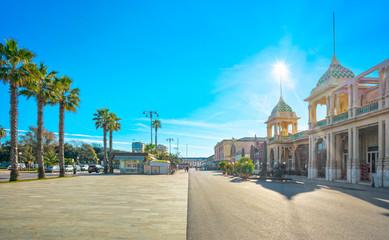 Famous Passeggiata a mare, seafront promenade in Viareggio, Versilia, Tuscany, Italy Wall mural