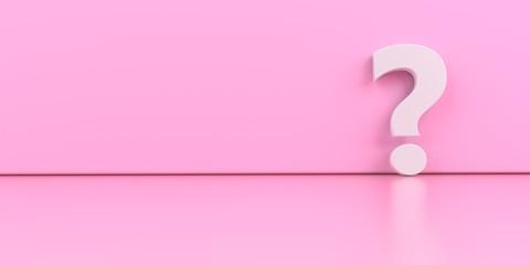 Obraz A white question mark on the pink background. 3d illustration. - fototapety do salonu
