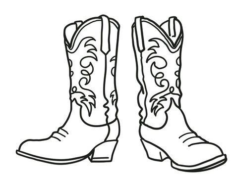 Cowboy boots and western hat. Wild West Arizona desert landscape with cactus. Vector Western black hand drawn cut file illustration