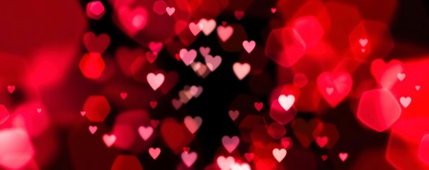 Fototapete - Valentines day background banner - abstract panorama background with red and pink hearts - concept love