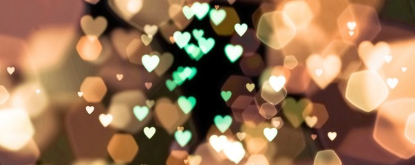 Fototapete - abstract background of  bokeh lights with many hearts - concept love