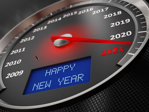 The speedometer indicates 2021 and the inscription on the screen: Happy New Year. 3d render
