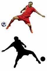 illustration of  soccer player, vector drawing