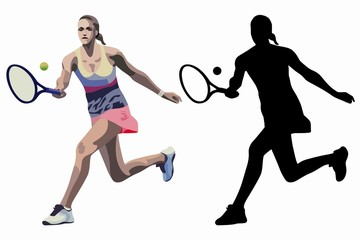 isolated illustration of a tennis player, vector drawing