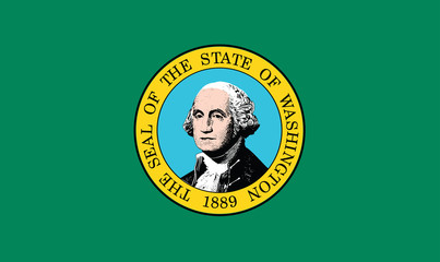 The state flag of Washington consists of the state seal, displaying an image of state namesake George Washington, on a field of dark green with gold fringe being optional.