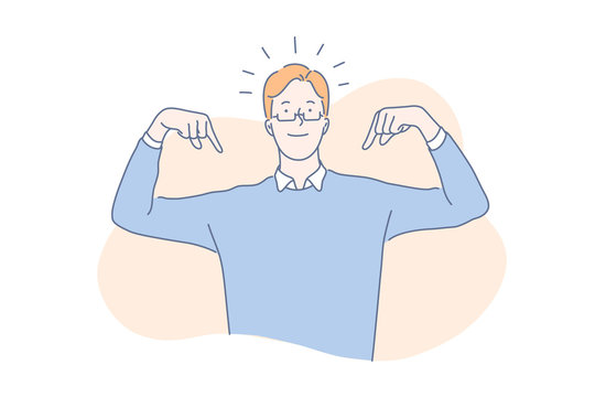 High self esteem concept. Proud young man pointing at himself with both hands, confident, successful handsome guy bragging, narcissistic, arrogant, charming leader. Simple flat vector