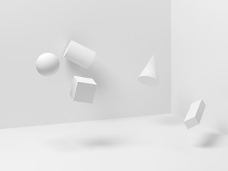 Zero gravity illustration, 3d render