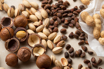 Pine nuts and other nuts set, food healthy