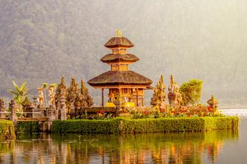 traditional religious Hindu procession in Ulun Danu temple Beratan Lake in Bali Indonesia