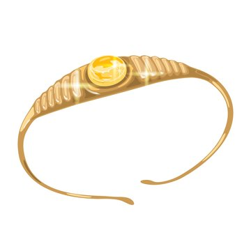 Golden tiara, diadem or crown with round yellow sapphire in centre. Elegant bracelet or armlet with gorgeous zircon or amber. Vector realistic illustration isolated on white for jewelry website.