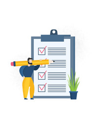 Positive business man with a giant pencil on his shoulder nearby marked checklist on a clipboard paper.  Illustration flat design style
