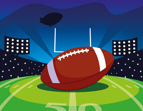 football stadium with ball rugby , super bowl