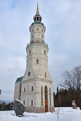 Bell tower in Zlatoust on Red hill. Chelyabinsk region, Russia