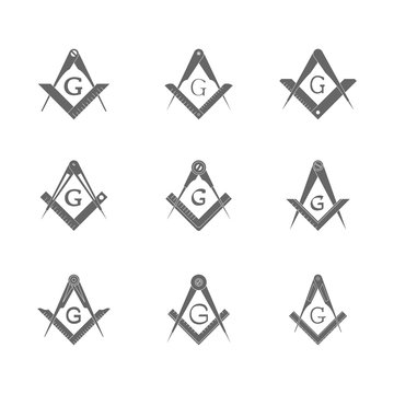 vector set with Masonic Square and Compasses for your design