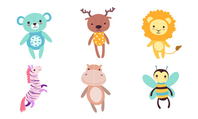 Wall Mural - Cute Toy Animals Collection, Bear, Deer, Lion, Zebra, Hippo, Bee Vector Illustration